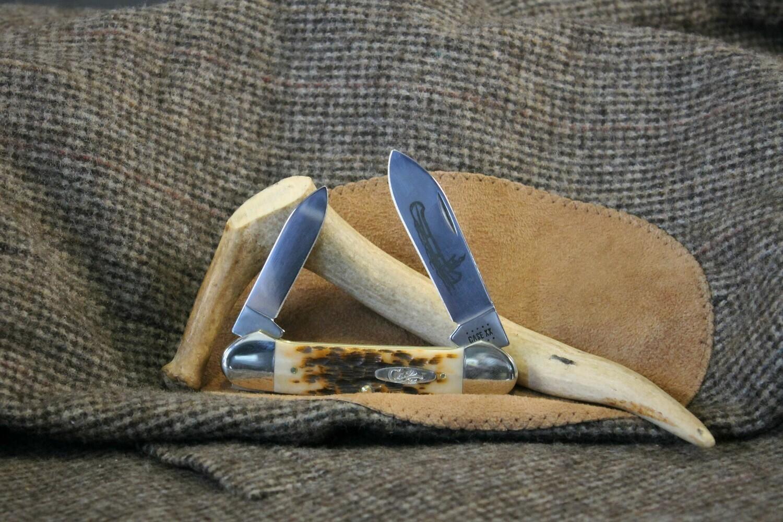 Case Amber Bone Peach Seed Jig Canoe