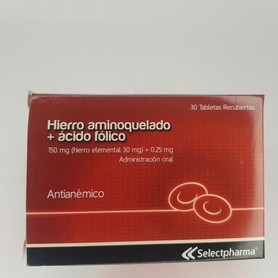 HIERRO AMINOQUELADO + ACIDO FOLICO BX 10 CX 30 TAB
