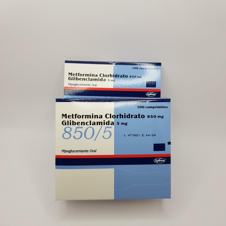METFORMINA +GLIBENCLAMIDA 850/5MG BX 100 TAB