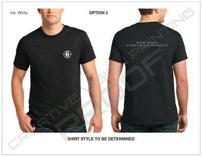 Small Logo on Front Chest with Slogan on Back [Black T-Shirt]