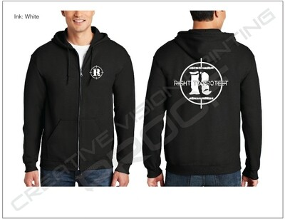 Small logo on front chest, with Large logo on back, Zip front hoodie