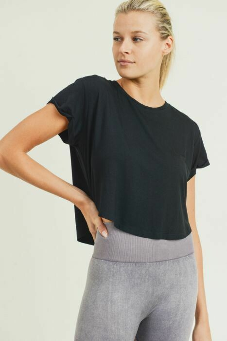 Black Crop-Top with Roll Sleeves- L