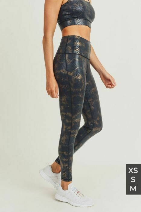 Black/Gold Snake Foil Print Highwaist Leggings
