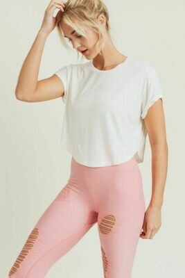 Cream Crop-Top with Roll Sleeves- L
