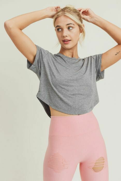 Grey Crop-Top with Roll Sleeves- L