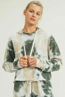 Tie-Dye Cropped Hoodie Pullover