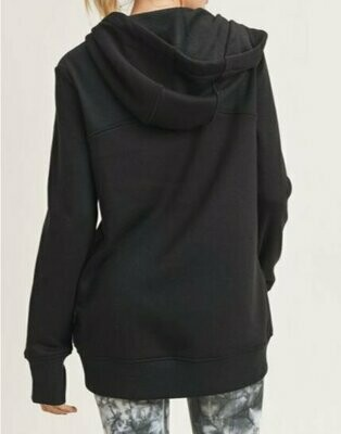 Terry-Knit Hoodie Jacket with Thumbholes