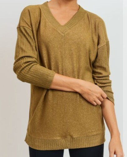 V-Neck Mixed Hacci Sweater