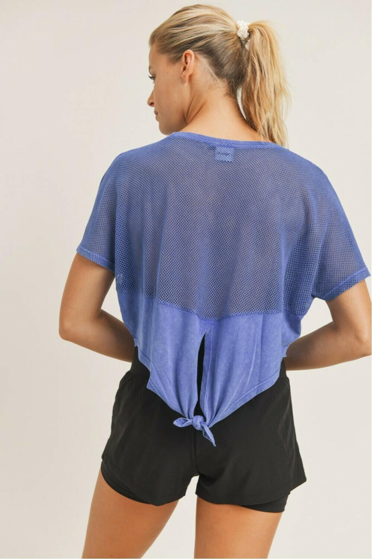 Blue Mesh Back Tie Crop Top