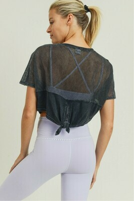 Black Mesh Back Tie Crop Top