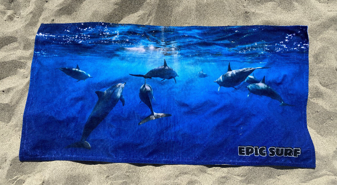 EPIC SURF DOLPHIN Large Beach Towel