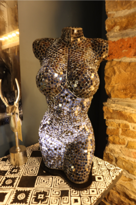 Recycled glass black body mosaic lamp 60cm