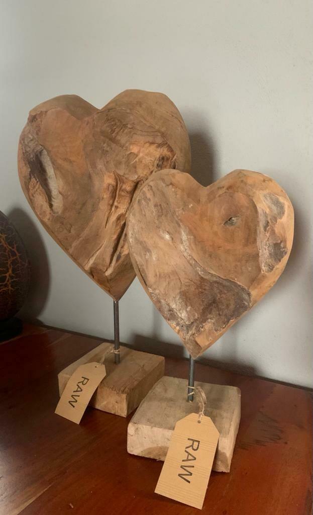 Handmade Teak Heart on Stand - 45cm
