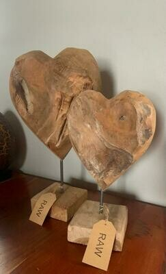 Handmade Teak Heart on Stand - 45cm