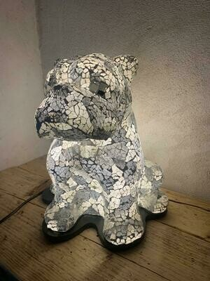 Bull Dog Recycled Mosaic Glass Lamp