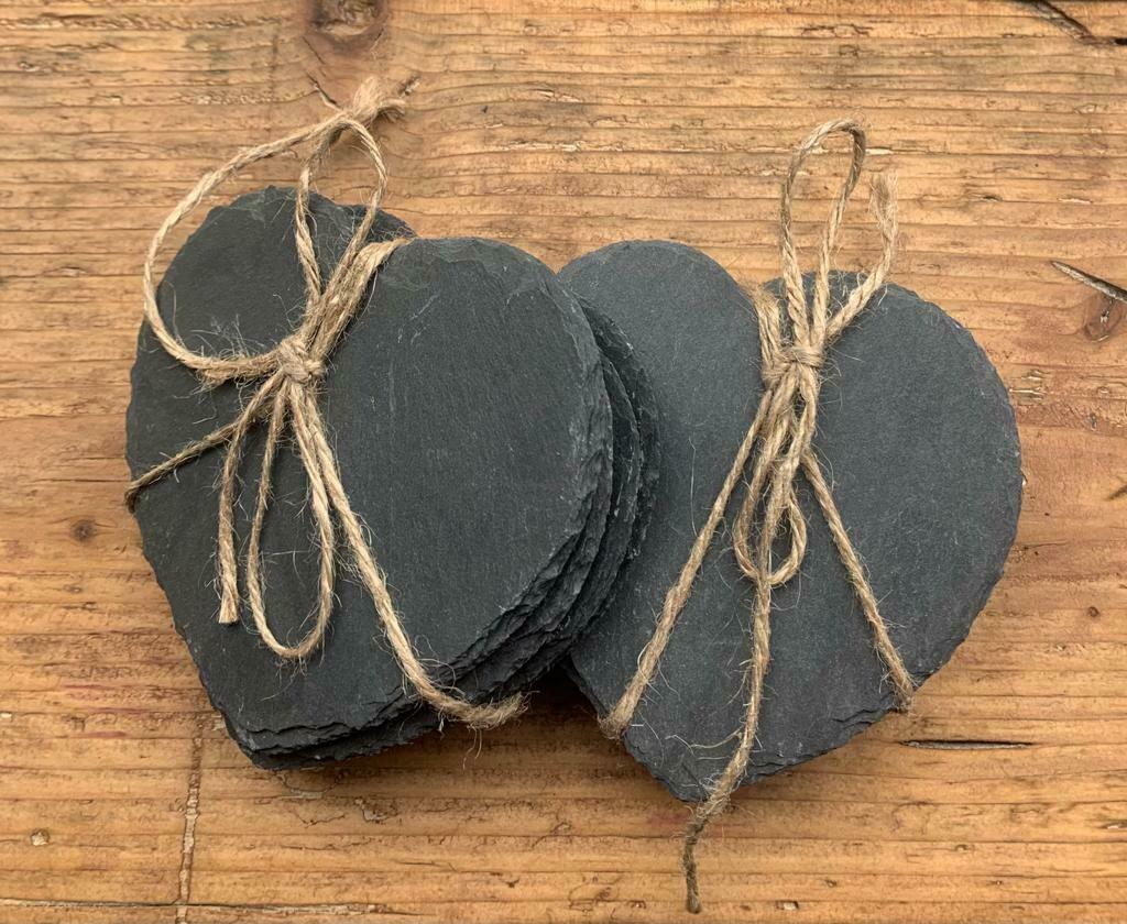 Slate Heart Shaped Coasters - Set of 4