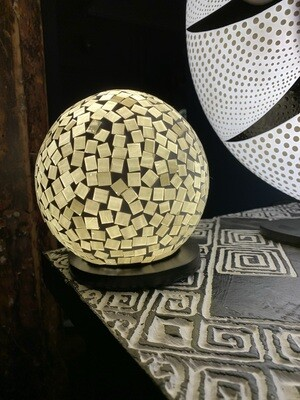 Recycled Glass White Ball Lamp