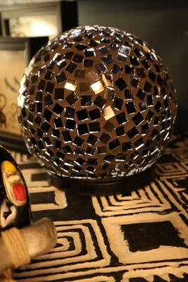 Recycled Glass Black Ball Lamp