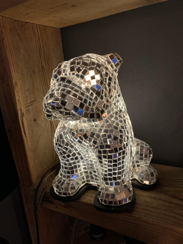 Bulldog Recycled Mirror Lamp 30cm