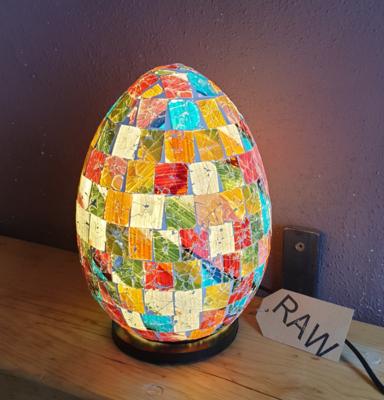Egg Mosaic Multi-coloured Lamp 25cm
