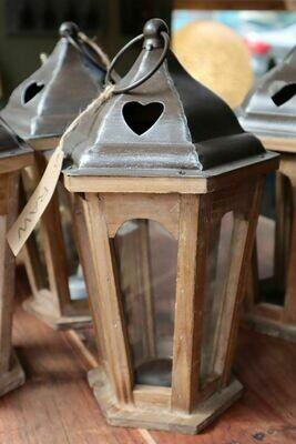 Hexagonal Wooden Lantern with Metal Top