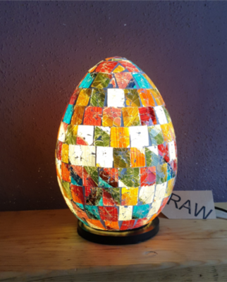 Recycled Glass Multicoloured Mosaic Egg Lamp - 25cm
