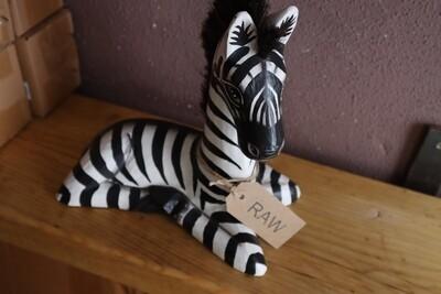 Ornamental Wooden Zebra - 25cm