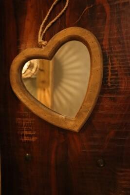 Wooden Heart Wall Mirror - 20.5x20x1.8cm