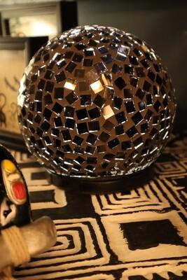 Recycled Glass Black Ball Lamp - 15cm