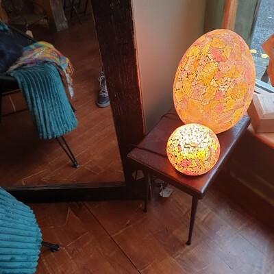 Recycled Orange Glass Egg Lamp 35cm