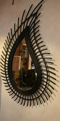 Rattan Mirror Waterdrop - Black