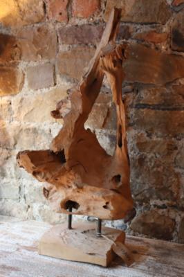Ornamental Teak Wood on Stand - 80 cm
