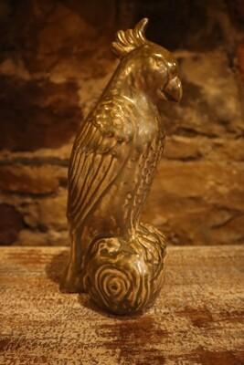 Ornamental Shiny Olive Green Bird -  12x11x28.5cm