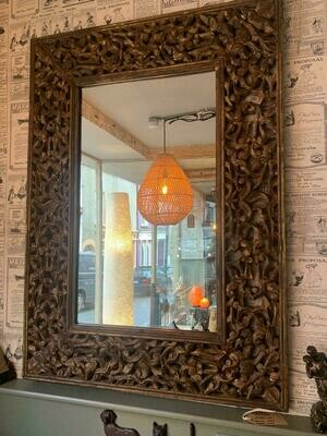 Hand Carved Wooden Mirror, Lelie, Gold - 75x107cm