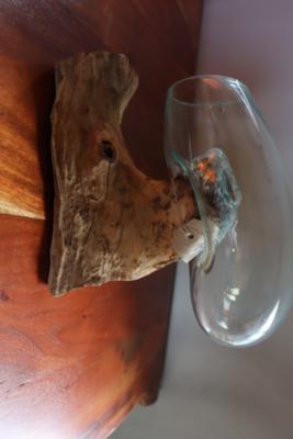 Blown Glass vase on teak wood Wall Mounted
