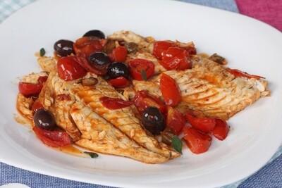 Fisch-Teller - Filetti di Branzino alla Mediterranea con riso
