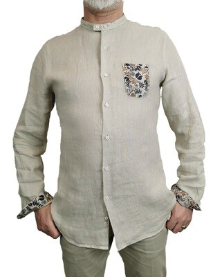 Camicia Lino Corda Coreana con Taschino