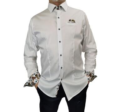 Camicia Cotone Bianca con Taschino Fantasia
