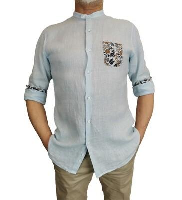 Camicia Lino Celeste Coreana con Taschino