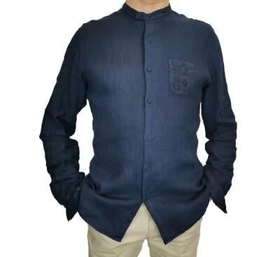 Camicia Lino Blu Coreana con Taschino