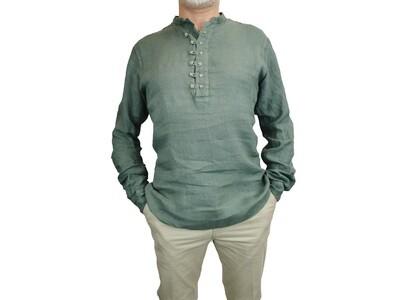 Camicia Lino Serafino Verde Muschio con bottoni