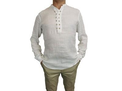 Camicia Lino Serafino Bianca con bottoni