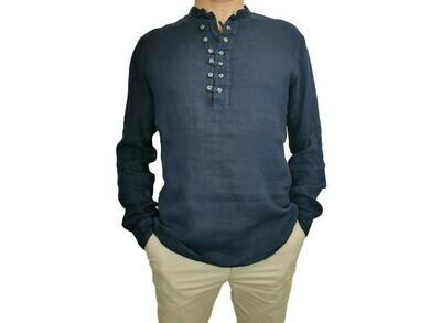 Camicia Lino Serafino Blu con bottoni