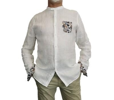 Camicia Lino Bianca Coreana con Taschino