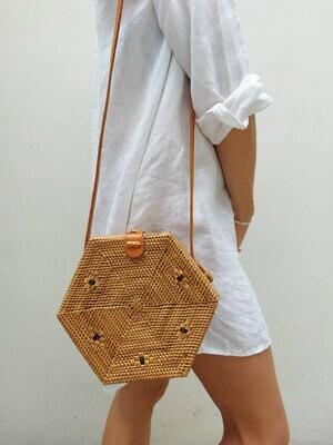 Ata rattan shoulder bag with little details