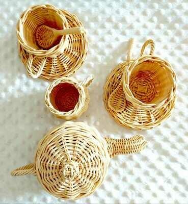 Rattan tea set - 8 pieces - AMAN