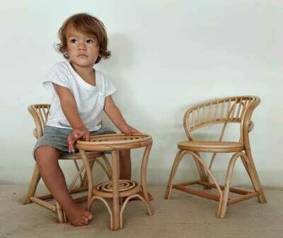Kids and doll chair with table