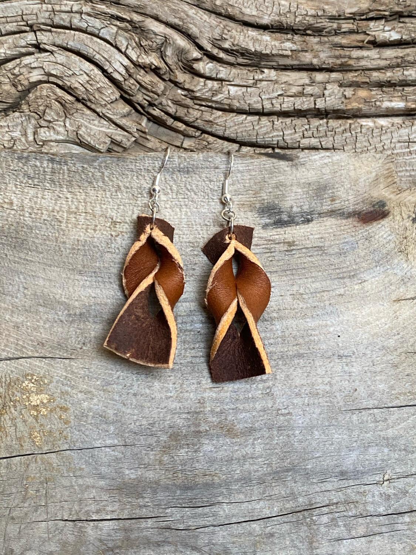 Two Tone Earrings Sterling Hooks