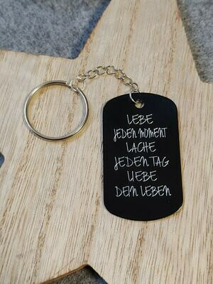 Schlüsselanhänger Dogtag Schwarz inkl. Gravur