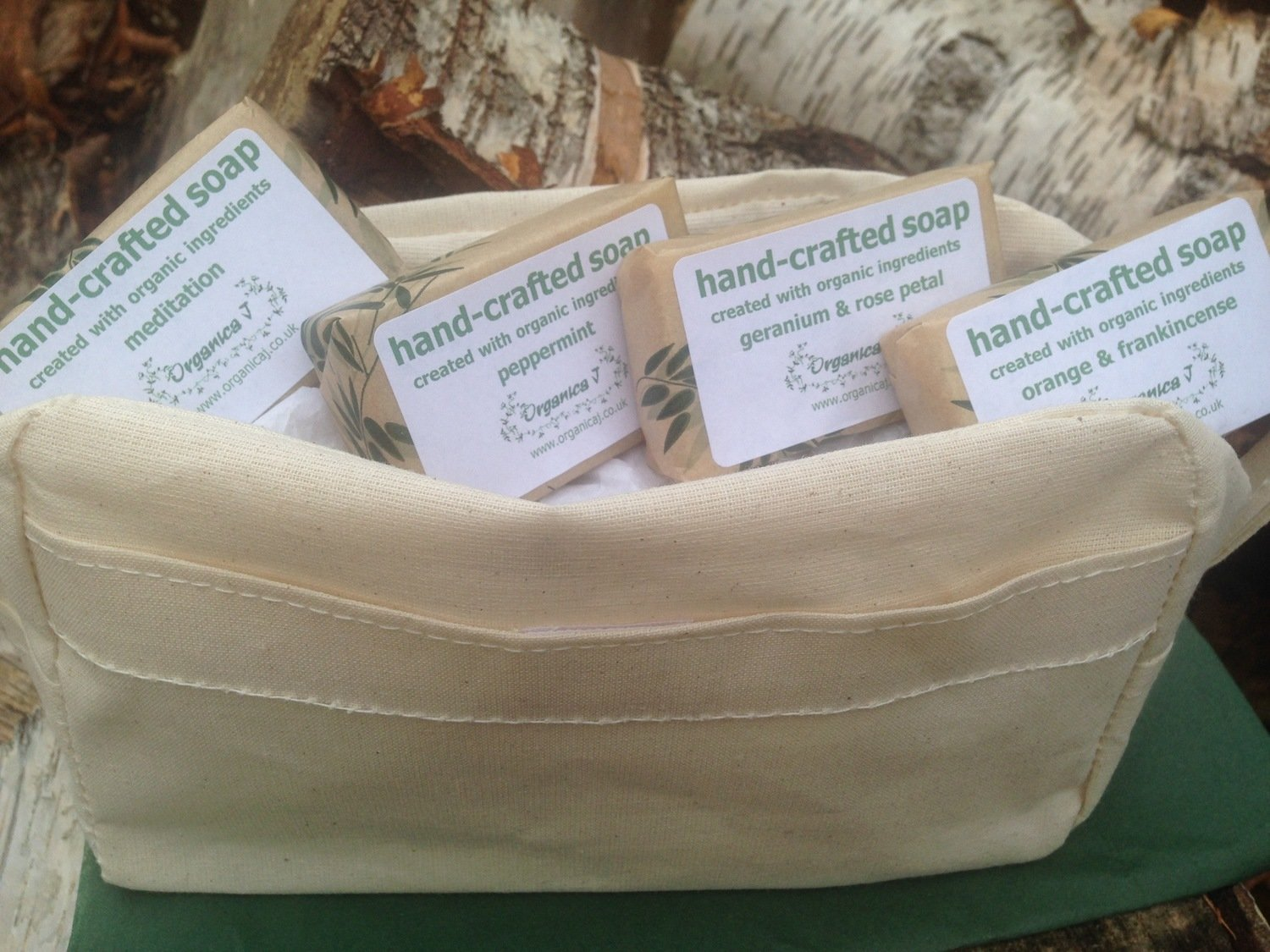 Organic Soaps in A Natural Cotton Toiletry Bag
